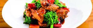 Frango com brócolis e pimentões ao molho teriyaki