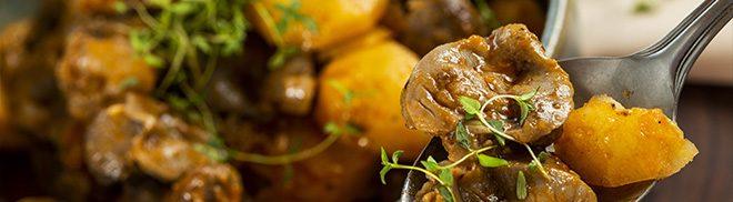 Moela de frango com batatas